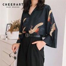 Cheerart-blusa holgada estilo Vintage japonés para otoño, camisa holgada con cuello de pico para mujer, dibujo de calavera, color negro, 2018