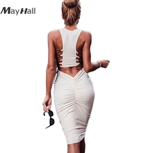 MayHall Sexy Hollow Out Sleeveless Women Dress Backless Lace up Summer Ruched Bandage vestidos verano 2018 MH292