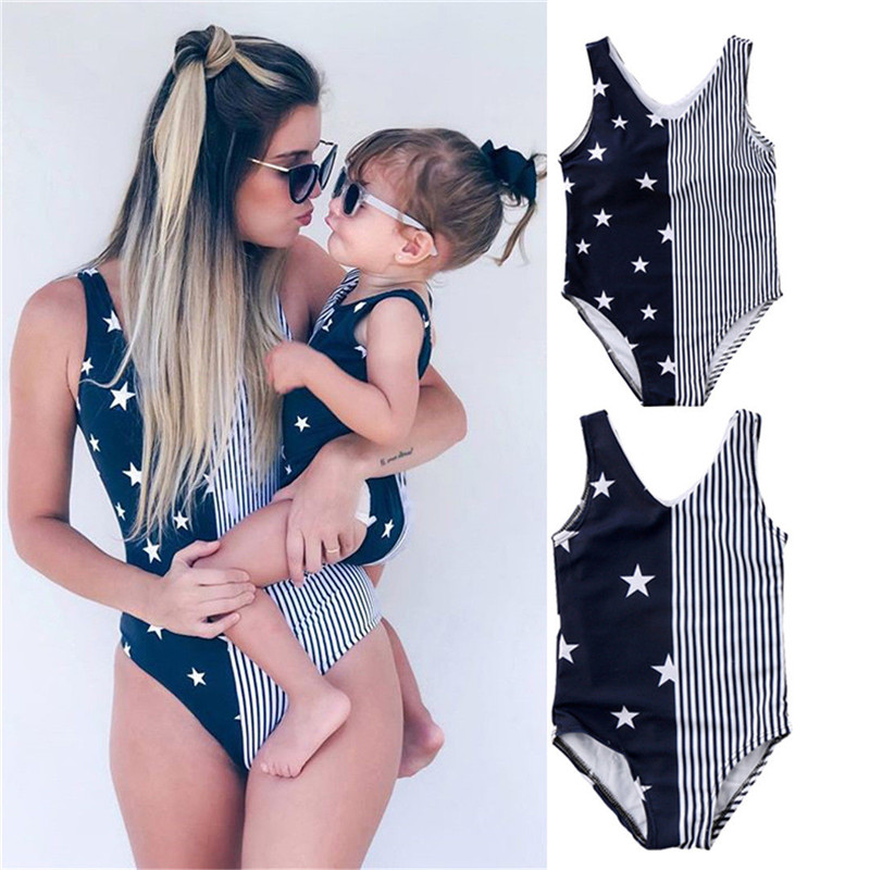 Mother and Daughter Women Baby Girls Striped Swimwear Bikini Beachwear Swimsuit Bikini Beach Costume lobster print striped swimsuit