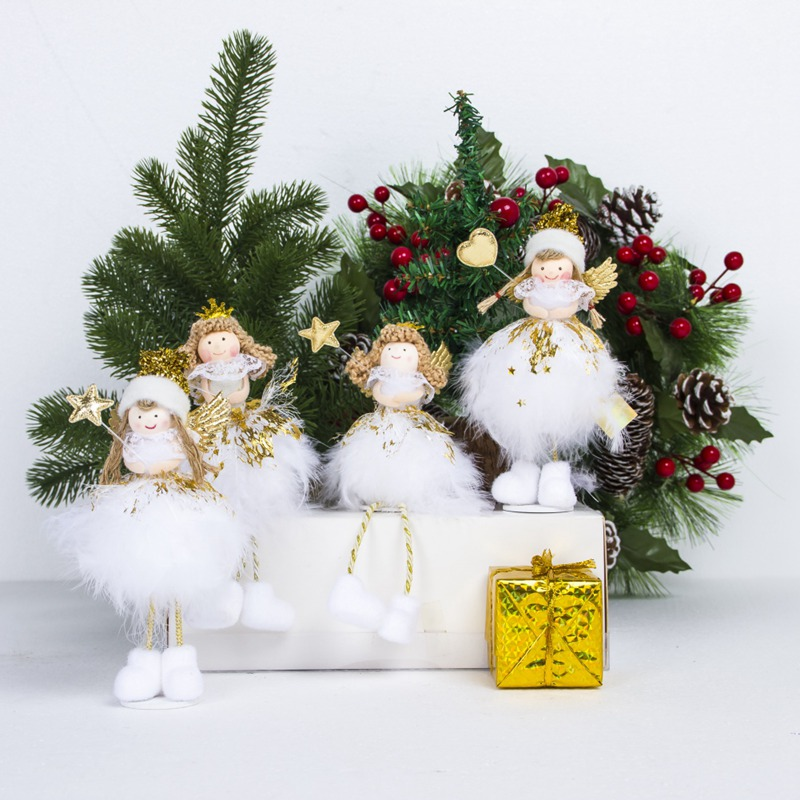Angel:  New Christmas Angel Doll Toy Holiday Party Home Decorative Desktop Ornaments Kids Friends Best Gift Figurines Bedroom Miniatures - Martin's & Co