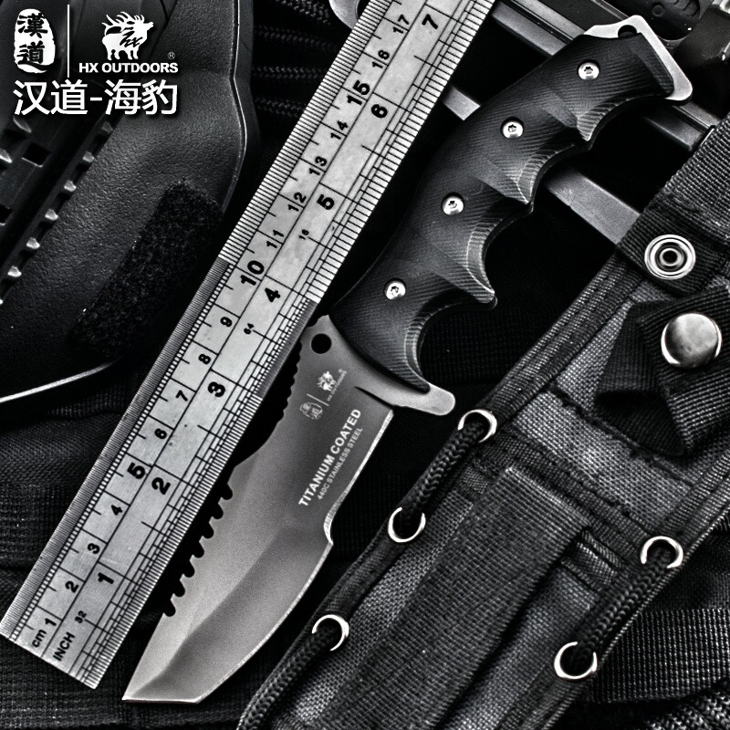 HX outdoor hardness high tactical knife multi tool surface plated titanium Fixed black Knife Camping Tool survival hunting kniveHX outdoor hardness high tactical knife multi tool surface plated titanium Fixed black Knife Camping Tool survival hunting knive