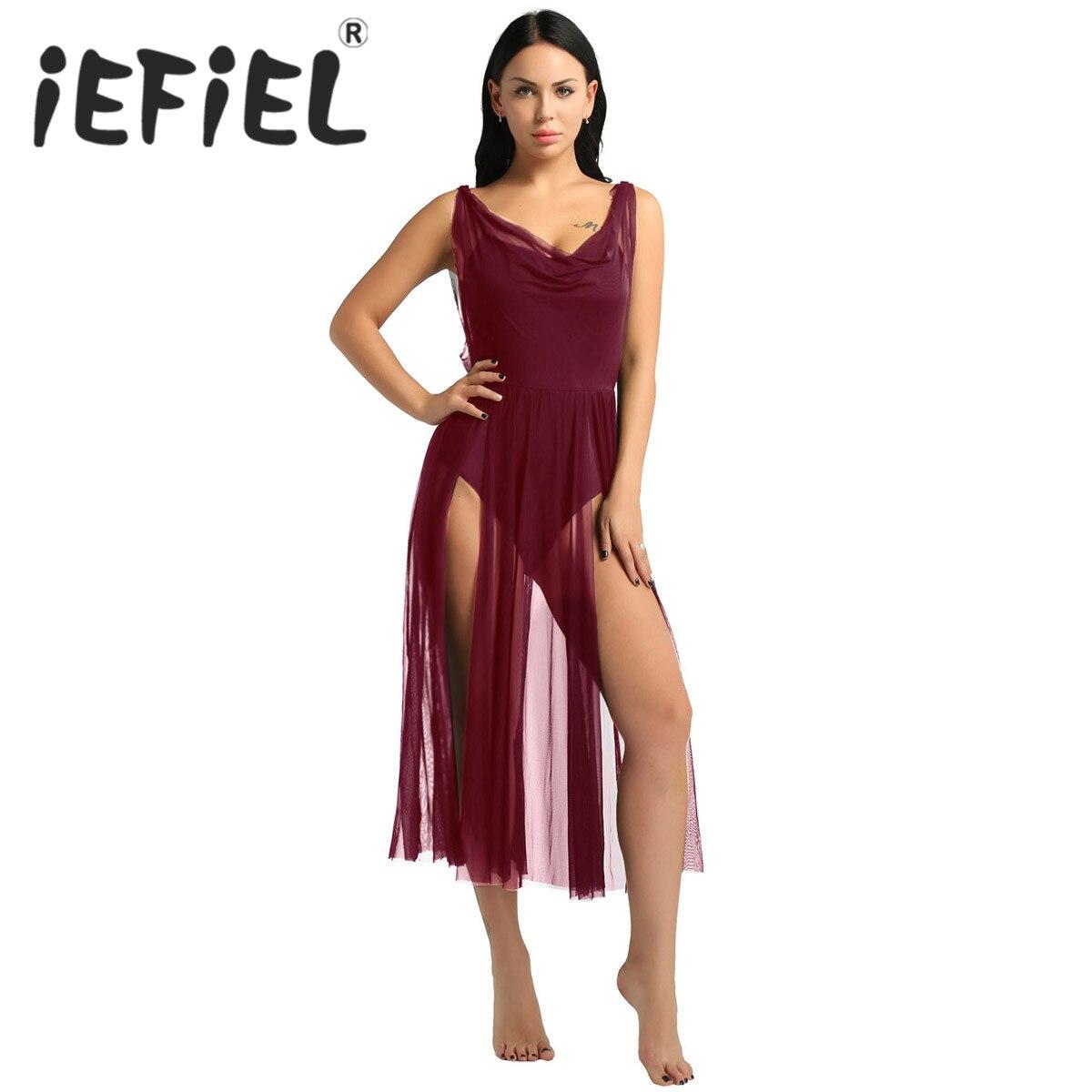 New Arrival Girls Women Adult Sleeveless Mesh Split Front Built In Shelf Bra Leotard Bodysuit Ballet Dance Performance Dresses