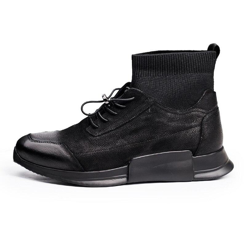 Zapatos de calcetín casuales de hombre de cuero genuino de alta altura de tobillo de deslizamiento en zapatillas de deporte de lujo botas de marca masculina de otoño negro zapatos planos zapatos - 5