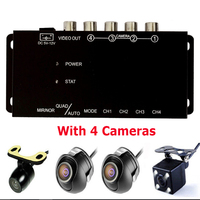 Car 4 Way Image Split Screen Control Box With Front Left Right Rear View Camera Reverse