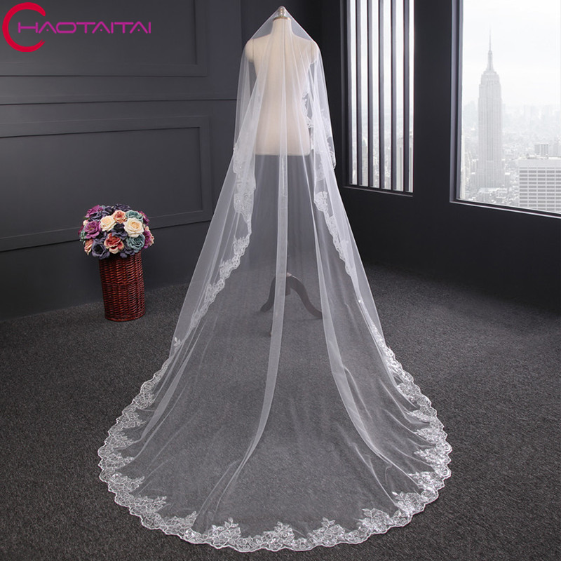 Wedding Veil Lace Cathedral Accessories About 3 M Long Cotton s Simple Vail Bride Bridal Veil No Comb