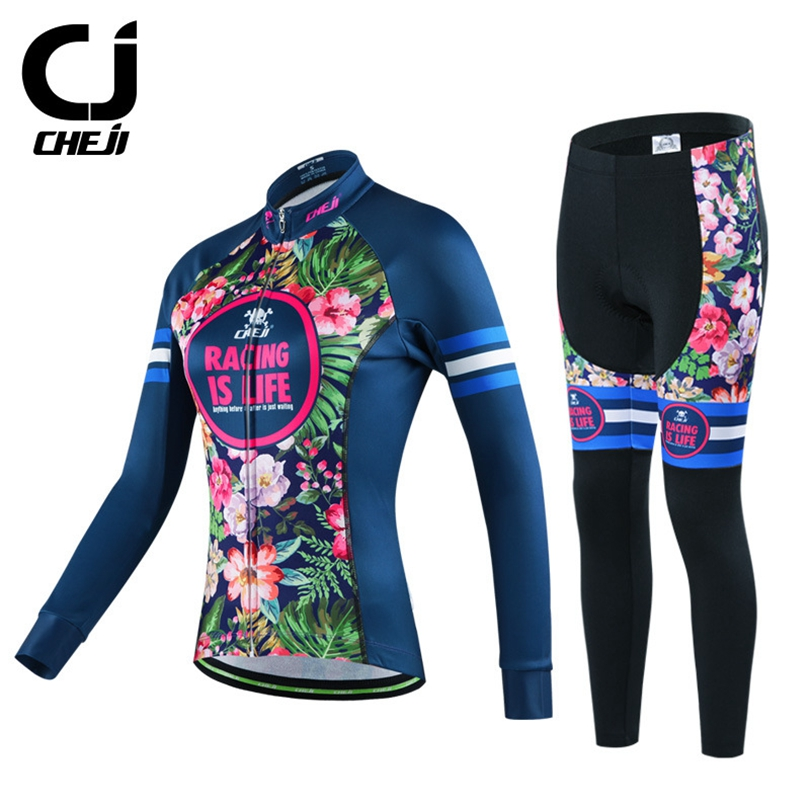 CHEJI Winter Thermal Fleece Women's Cycling Clothing Set Maillot Ropa Ciclismo Biking MTB Bicycle Jerseys Pants Bike Sportswear polyester summer breathable cycling jerseys pro team italia short sleeve bike clothing mtb ropa ciclismo bicycle maillot gel pad