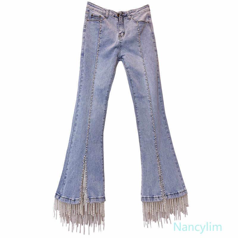 Clou-perle frangé taille haute Jeans pantalon dame eau perceuse perle couleur claire Slim mode femmes Club Jeans pantalon Nancylim