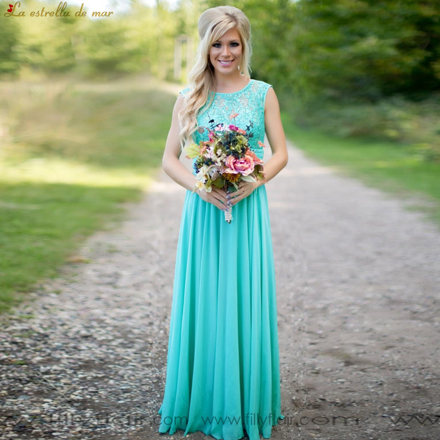 Vestido madrinha 2019 new lace chiffon back a line turquoise bridesmaid dresses long plus size wedding party gown cheap