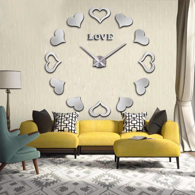 3D diy のアクリルミラーステッカークォーツ近代ホーム装飾新発売壁時計時計リロイデ · パレー時計送料無料