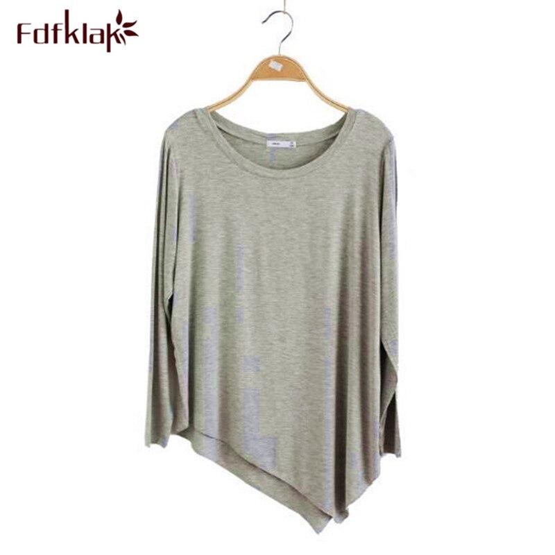 Fdfklak Casual primavera outono camiseta mulheres Camisetas de malha de algodão feminino desgaste da rua das mulheres soltas topos camiseta femme nova