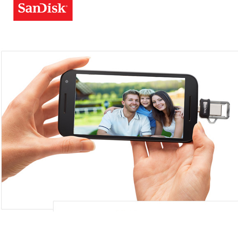 SanDisk OTG USB Flash Drive 32GB 16GB USB 3 0 Dual Mini Pen Drives 128GB 64GB