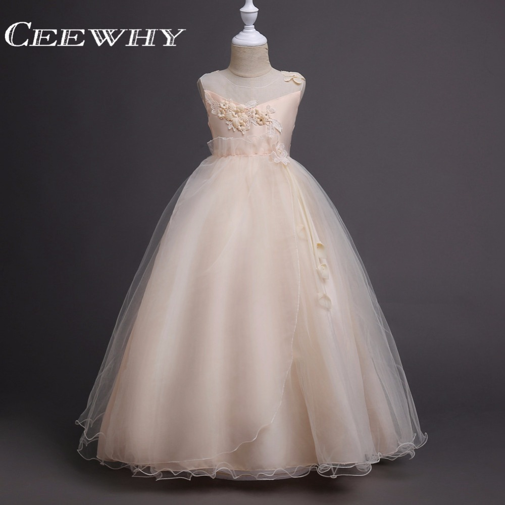 CEEWHY Embroidery Perform Chorus Girls Dress Long Ball Gown Flower Girl Dresses Candy Color Communion Dresses for Girls