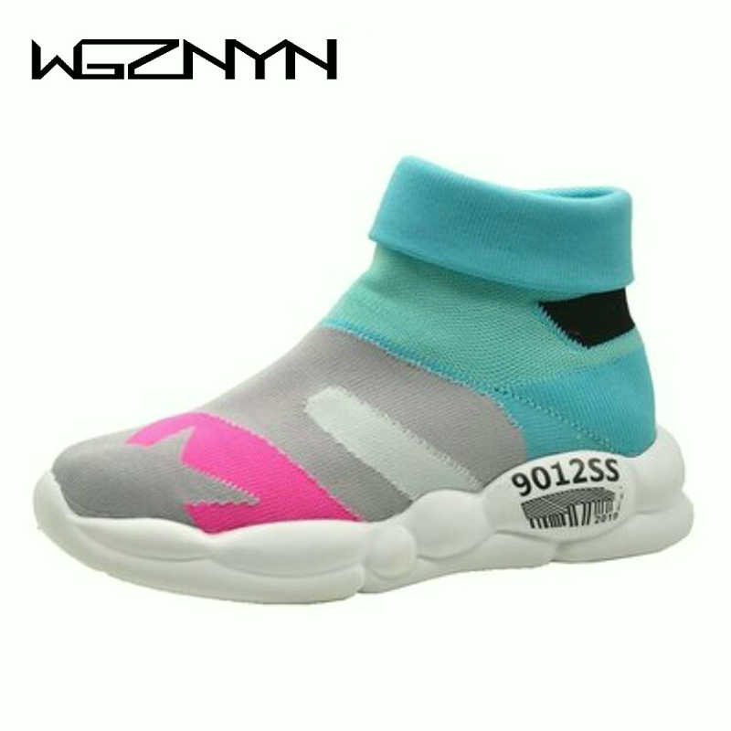 WGZNYN NEW Style Summer Autumn WOMen Sneakers Fashion Slip On Shoes Woman High Top Casual Fly Weave High Top Sock Warm Shoes W53