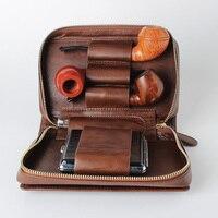 Табачные трубы сумка из натуральной яловой кожи трубы мешок (держать 3 шт.) табачные изделия (только мешочек)
