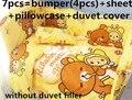 Descuento! 6 / 7 unids Cuna Baby Bedding Set 100% algodón, bebé edredón cubierta unpick, conjunto de llua de bebe, 120 * 60 / 120 * 70 cm