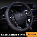 38CM Leather Car Steering Wheel Covers Accessories for Nissan Qashqai 2013 X-trail Juke Primera Almera Tiida Almera Pathfinder