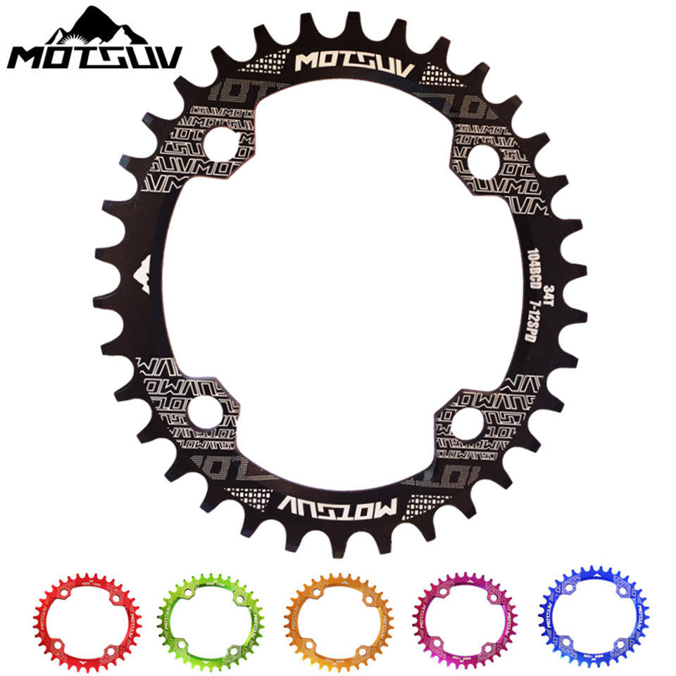 Bicycle Crank & Chainwheel Oval 104BCD 32T/34T/36T/38T Narrow Wide Cycling Chainring MTB Bike Chainwheel Crankset Plate Parts