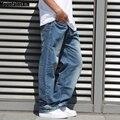 Mountainskin Calça Jeans Da Moda dos homens Calça Jeans Hiphop dos homens Streetwear Retro Velho Jeans Casual Soltas calças Jeans Plus Size 44 46, JA463