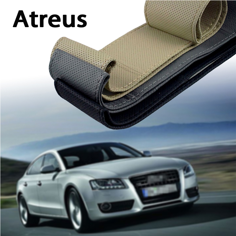 Atreus Car steering wheel cover Genuine Leather Hand stitching for Ford Focus 2 3 Fiesta Toyota Corolla Avensis Mazda 3 6 cx-5