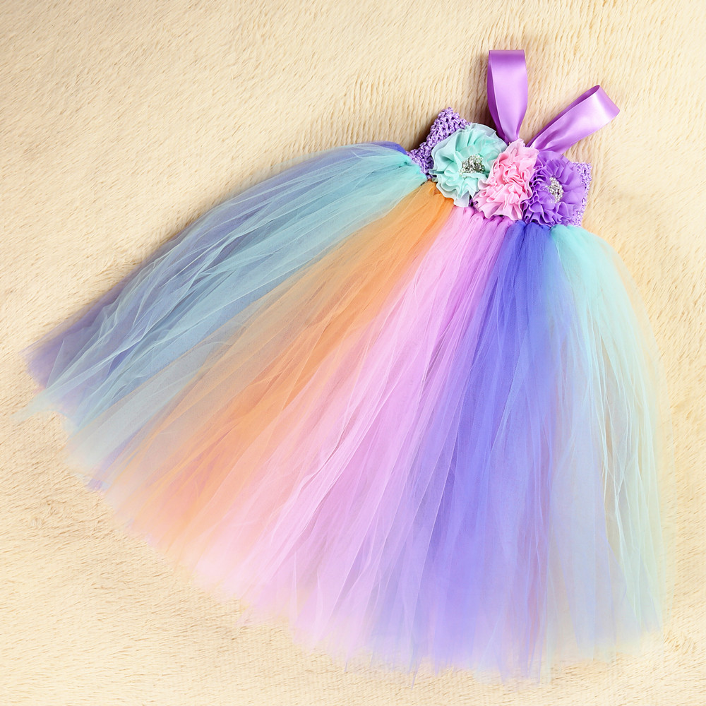 Pastel Unicorn Clothes Girl Summer Long Ankle Length Sleeveless May Little Pony Costume Dress for Girls Party Dresses Age 10 12 (5)