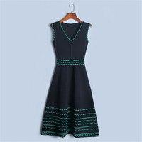 Tunjuefs Vintage Zippers Dress Women Pullover Summer Sleeveless Roby Dress Slim Twist Striped Party Dress Knit Vestido Sundress
