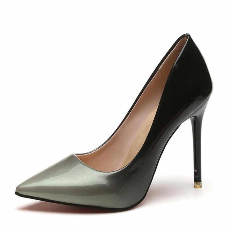 2019 schatten Frauen Schuhe Spitz Pumpen Patent Leder Kleid Wein Rot 10CM High Heels Boot Schuhe Hochzeit Schuhe zapatos Mujer