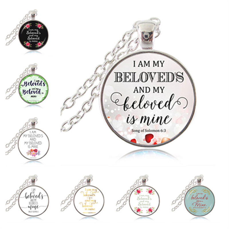 US $10 19 15% OFF|I am My Beloved's and My Beloved Is Mine Song Of Solomon  6:3 Bible Verse Pendant Necklace, Christian Scripture, Wedding Decor,-in
