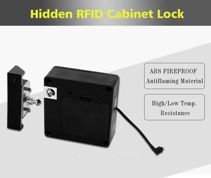Smart Electronic Hidden RFID Cabinet Lock No Hole Easy Installation Furniture Locker Wardrobe Shoe Cabinet Drawer Door Lock With Two Cards/Keytags