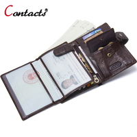 Contact S Passport Cover Genuine Leather Passport Holder Men Business Card Holder Male Wallet Coin Purse
