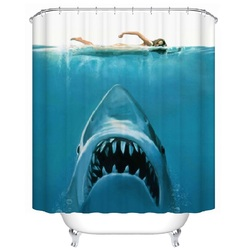Shower Curtain JAW Shark Printed Waterproof Polyester Bath Curtain Bathroom Accessories 180x180cm Curtain Home Decoration