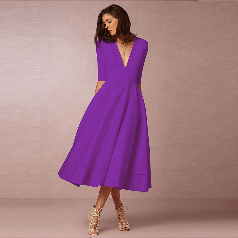 3XL Plus Size Fashion Party Dress Women Autumn Winter New Sexy Deep V Neck Culf Sleeve Dress Big Swing Midi Dresses White Red