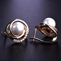 Madrry Exquisite Simulated Pearl Stud Earrings For Women Austrian Crystal Copper Perla Brinco Gold Plated Aretes Ear Accessories