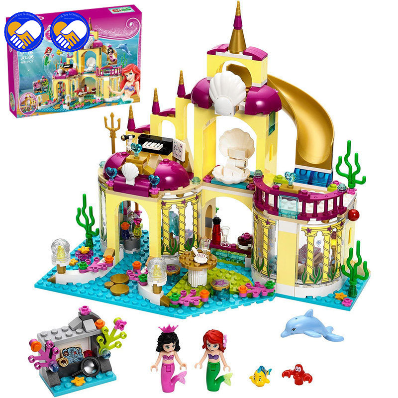 Compatible Legoinglys Friends Arrival Princess Ariel's Palace Of The Sea Mermaid Building Blocks Toy Kit DIY Educational Gifts