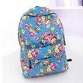 The new 2015 quarter selling backpack National roses canvas effect female bag girl,s flowers school bag Rural amorous travel bag