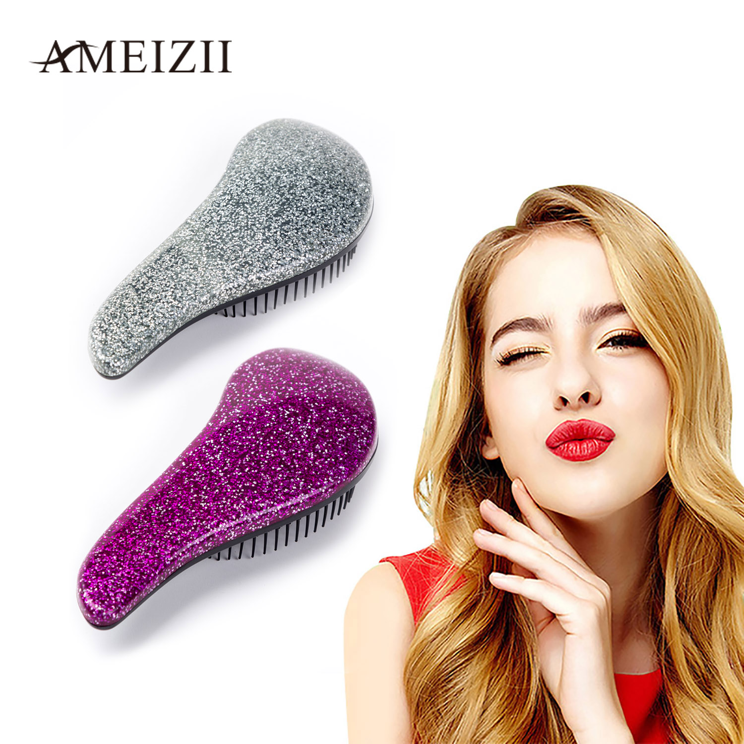 AMEIZII 1Pcs Magic Handle Anti-static Hair Brush Comb Hair Brush Styling Tools Shower Electroplate Salon Styling For Women Girls