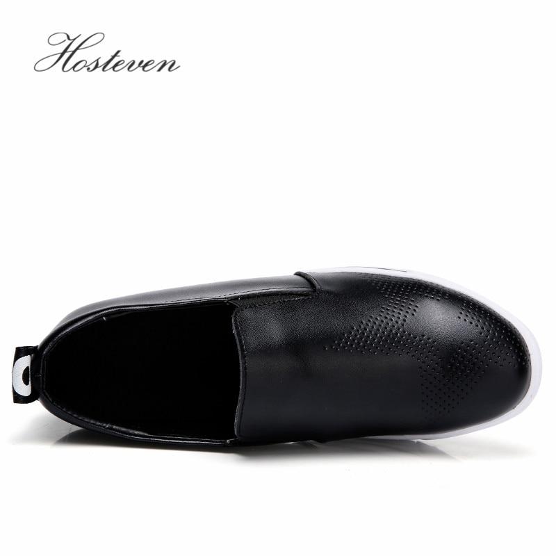 Cuir 40 Hosteven De En Black Chaussures Taille Femmes Mocassins Appartements white Grande Femme Mode Casual Dans Cm Véritable Les Augmenté 6 35 qgxgt4Hwr