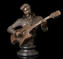 Медь Латунь ремесел ation Азиатский Известный Рок-н-Ролл Звезды Человек Музыка Гитара Элвис Арон Пресли Бронзовый Бюст скульптуры фигурка