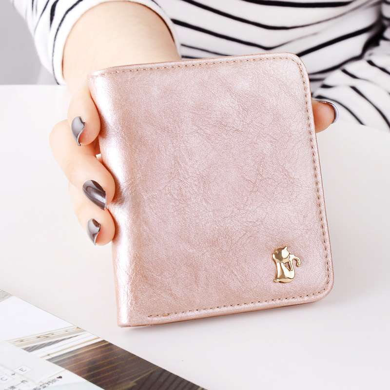 Korean Vintage Cute Anime Cat Leather Women Slim Mini Wallet Girl Small Purse Female Coin Credit Card Holder Dollar Price korean cute cat wallets women small zipper girl wallet brand designer pu leather women coin purse female card holder clutch bag