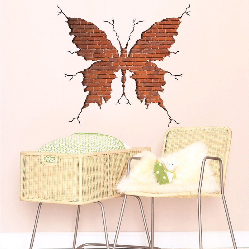 3d Crack Butterfly Wall Sticker Removable Pvc Bedroom Living Room Decorating Waterproof Art Mural Creative Home Decor Wall Stickers Aliexpress