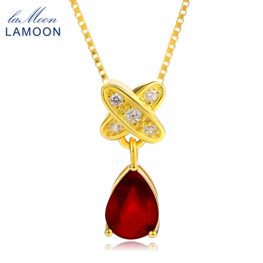 LAMOON Tears of lovers Natural Water Drop Ruby 925 Sterling Silver Chain Pendant Necklace Jewelry  S925 LMNI034