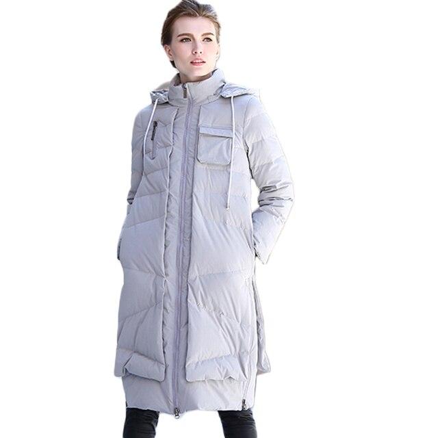 2017 Nueva Moda de Productos de Calidad a Largo Gris Abrigos de Invierno Con Capucha Mujer wide-waisted Cremallera Chaqueta Abajo de la Mujer invierno Y2203
