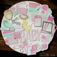 ZFPARTY 36 stücke Baby Mädchen Karton Sterben Schnitte für Scrapbooking Glücklich Planer/Karte, Der/Journaling Projekt