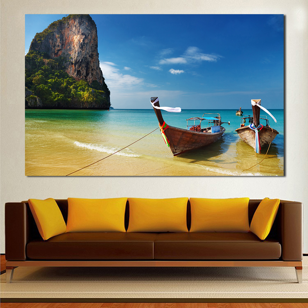 jqhyart wall art picture tropical plyaj lodki thailand landscape for living room canvas painting home decor