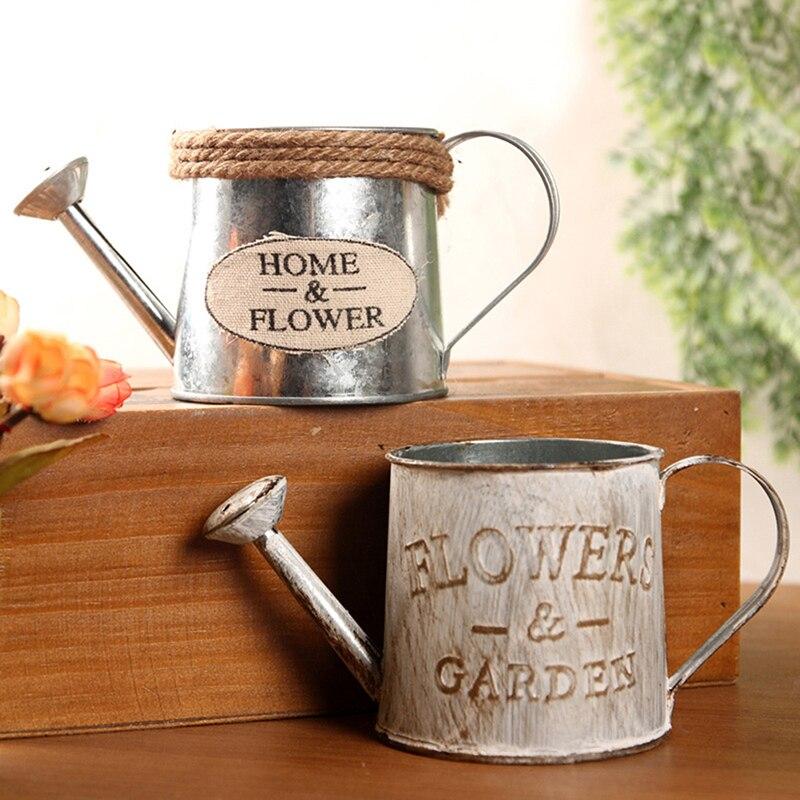 Pot Desktop-Decoration Home-Ornaments Metal Retro Vintage Flower Iron Watering-Barrel