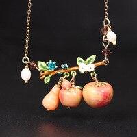 Les Nereides Elegant Gem Pendant Necklaces Fruit Apple Romantic Beautiful Gold Chain Necklace For Women Jewelry