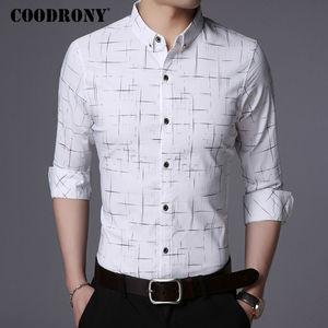 Image 4 - Рубашка COODRONY мужская с длинным рукавом, деловая повседневная одежда, хлопок в клетку, 2019