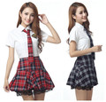 Manga corta chica uniforme escolar japonés marinero dress rojo/tibetano azul plaid falda uniformes japonais coreano trajes para la muchacha