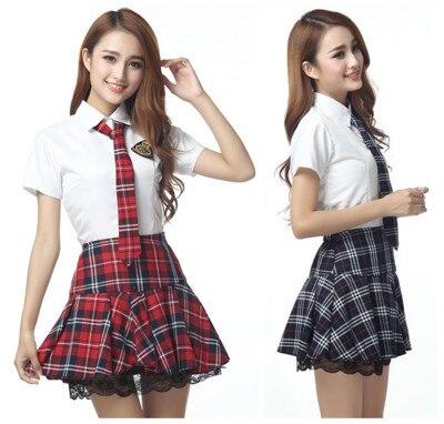 Short Sleeves Japanese School Uniform Girl Sailor Dress Red/Tibetan Blue Plaid Skirt Uniformes Japonais Korean Costumes For Girl
