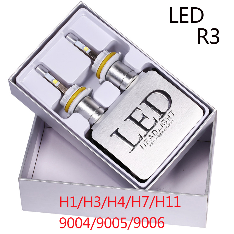 castaleca 2Pcs Super Bright Car LED R3 Headlight H7 H1 H3 H4 H11 9004 9005 9006 Auto DRL Fog lamp Front Bulb Headlamp 80W 9600LM 1 pair car headlight bulb kit 12v 50w automobile headlamp zes lumileds led chip auto head light fog lamp 9005 9006 h11 h4 h7 h1