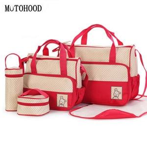 Image 1 - MOTOHOOD 39*28,5*17 см, 5 шт., сумка для подгузников для мамы, держатель для детской бутылочки, Мамины коляски, наборы сумок для подгузников для беременных